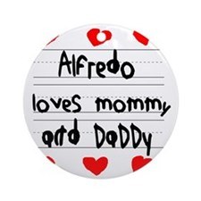 Alfredo Loves Mommy and Daddy Round Ornament