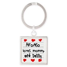 Alfonso Loves Mommy and Daddy Square Keychain