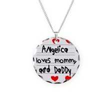 Angelica Loves Mommy and Dad Necklace Circle Charm