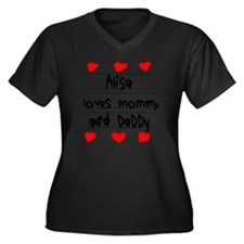 Alisa Loves  Women's Plus Size Dark V-Neck T-Shirt