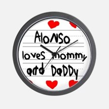 Alonso Loves Mommy and Daddy Wall Clock