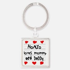 Alonzo Loves Mommy and Daddy Square Keychain