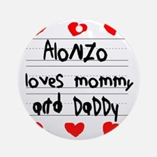 Alonzo Loves Mommy and Daddy Round Ornament