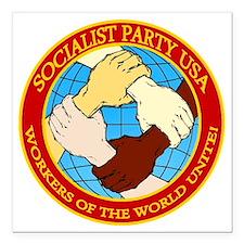 "Socialist Party USA Logo Square Car Magnet 3"" x 3"""
