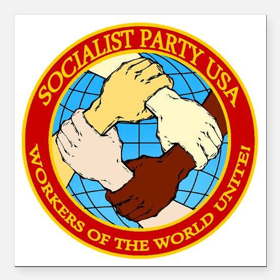 "Socialist Party USA Logo Square Car Magnet 3"" x 3"""