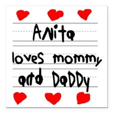 "Anita Loves Mommy and Da Square Car Magnet 3"" x 3"""