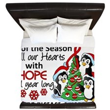D Heart Disease Christmas Penguins King Duvet