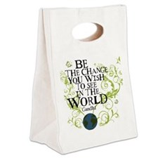 bethechange_earth_white Canvas Lunch Tote