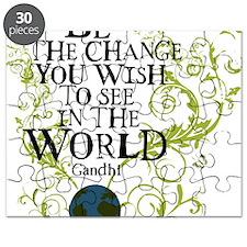 bethechange_earth_white Puzzle