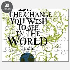 bethechange_earth_white Puzzle