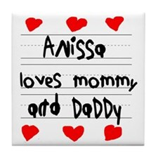 Anissa Loves Mommy and Daddy Tile Coaster