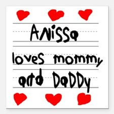"""Anissa Loves Mommy and D Square Car Magnet 3"""" x 3"""""""