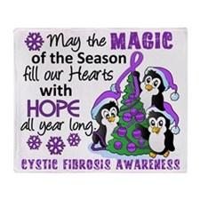 D Cystic Fibrosis Christmas Penguins Throw Blanket