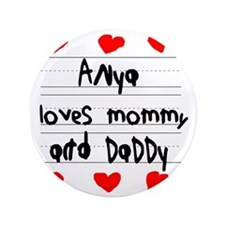 """Anya Loves Mommy and Daddy 3.5"""" Button"""