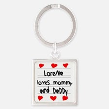 Lorena Loves Mommy and Daddy Square Keychain