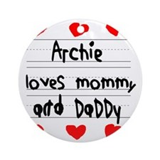 Archie Loves Mommy and Daddy Round Ornament