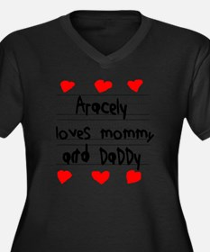 Aracely Love Women's Plus Size Dark V-Neck T-Shirt