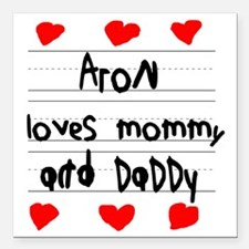 """Aron Loves Mommy and Dad Square Car Magnet 3"""" x 3"""""""