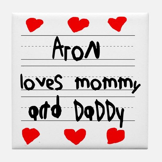 Aron Loves Mommy and Daddy Tile Coaster