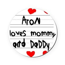 Aron Loves Mommy and Daddy Cork Coaster
