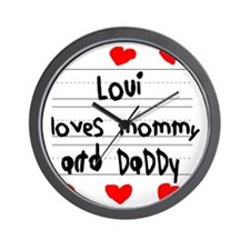 Loui Loves Mommy and Daddy Wall Clock