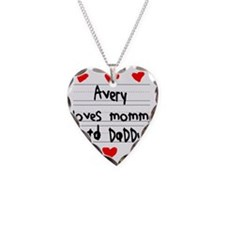 Avery Loves Mommy and Daddy Necklace Heart Charm