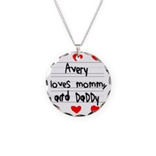 Avery Loves Mommy and Daddy Necklace Circle Charm