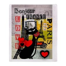 france cat cell case Throw Blanket