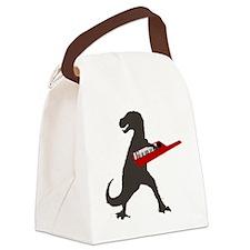 T-Rex Playing the Keytar Canvas Lunch Bag