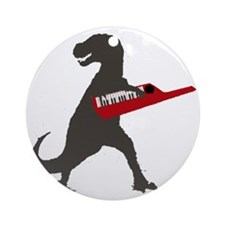 T-Rex Playing the Keytar Round Ornament