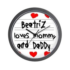 Beatriz Loves Mommy and Daddy Wall Clock