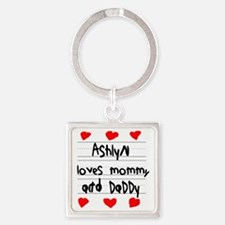 Ashlyn Loves Mommy and Daddy Square Keychain