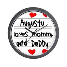 Augustu Loves Mommy and Daddy Wall Clock