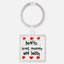 Benito Loves Mommy and Daddy Square Keychain