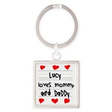 Lucy Loves Mommy and Daddy Square Keychain