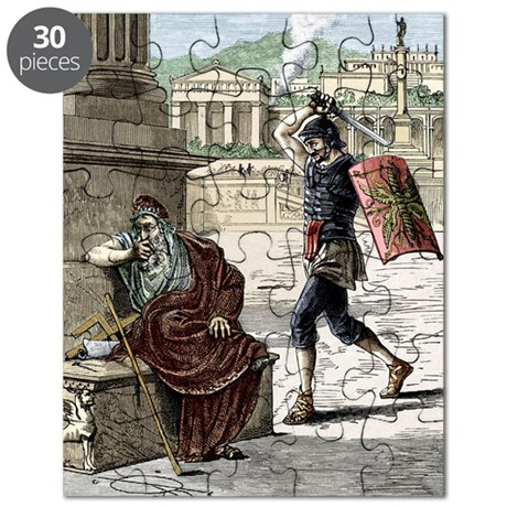 Death of Archimedes in sack of Syracuse Puzzle