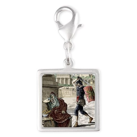 Death of Archimedes in sack o Silver Square Charm