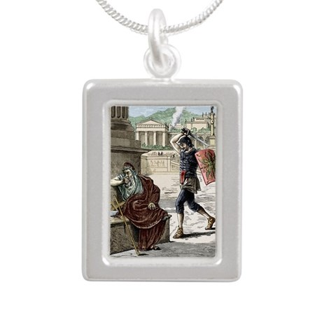 Death of Archimedes in s Silver Portrait Necklace