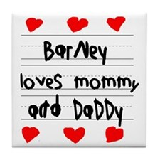Barney Loves Mommy and Daddy Tile Coaster