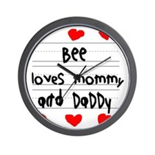Bee Loves Mommy and Daddy Wall Clock