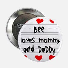 """Bee Loves Mommy and Daddy 2.25"""" Button"""