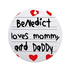 Benedict Loves Mommy and Daddy Round Ornament