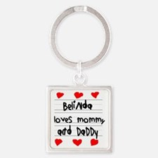 Belinda Loves Mommy and Daddy Square Keychain
