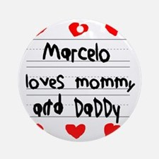 Marcelo Loves Mommy and Daddy Round Ornament