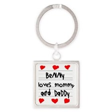 Benny Loves Mommy and Daddy Square Keychain