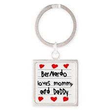 Bernardo Loves Mommy and Daddy Square Keychain