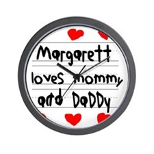 Margarett Loves Mommy and Daddy Wall Clock