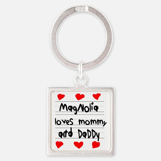 Magnolia Loves Mommy and Daddy Square Keychain
