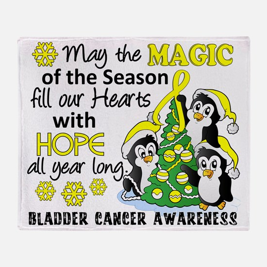 D Bladder Cancer Christmas Penguins Throw Blanket
