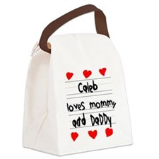 Caleb Loves Mommy and Daddy Canvas Lunch Bag